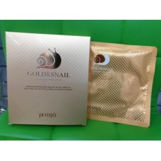 Гидрогелевая маска с золотом и улиточным муцином 5шт / Petitfee Gold & Snail Mask pack 5ea
