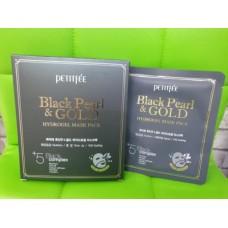 Гидрогелевая маска с черным жемчугом и золотом 5шт / Petitfee Black Pearl & Gold Mask pack 5ea