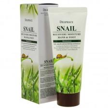 Крем с муцином улитки для кожи рук и ног / Deoproce Snail Recovery Moisture Hand & Foot Cream 100g