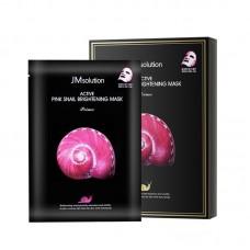 JMsolution Active Pink Snail Brightening Mask 10pcs / Ультратонкая тканевая маска с муцином улитки